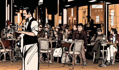 Plakat Kelner obsługujących klientów w tradycyjnym zewnątrz paryskiej kawiarni