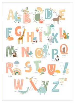 Plakat Kids english alphabet, A to Z with cute cartoon animals. Editable vector illustration