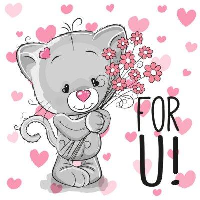 Plakat Kitten z kwiatami
