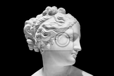 Plakat Klasyczne białe popiersie greckiej bogini samodzielnie na czarno