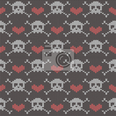 Plakat Knitted seamless pattern with skulls