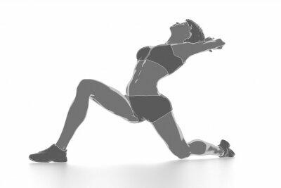 Plakat Kobieta fitness rozciąganie na białym pojedyncze - rozgrzania koncepcji