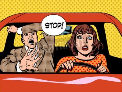 Plakat Kobieta jazdy kierowcy szkoły Panika spokojna stylu retro pop-artu. Samochód i transporcie
