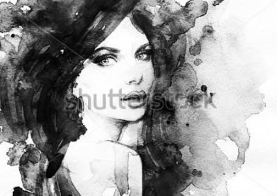 Plakat kobieta portret .abstract akwarela .fashion tło