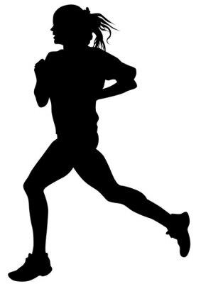Plakat Kobieta sportowców na prowadzeniu wyścigu na białym tle