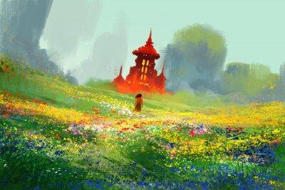 Plakat kobieta w dziedzinie kwiat obok czerwonego zamku i góry, ilustracja malarstwo