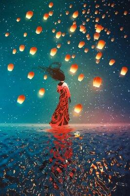 Plakat kobieta w sukni stojącej na wodzie przed latarniami przestawne w nocne niebo, ilustracja malarstwo