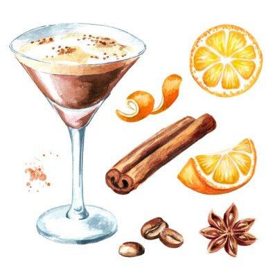 Plakat Koktajl martini espresso z ziarnami kawy i zestawem przypraw. Akwarela ilustracja, na białym tle