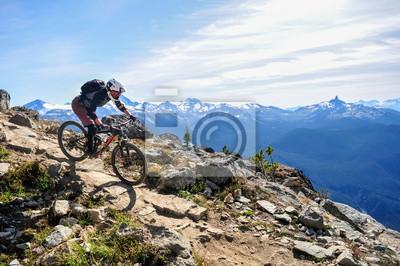 Plakat Kolarstwo górskie w Whistler, Kolumbia Brytyjska Kanada - szczyt Świata w górskim parku rowerowym Whistler - wrzesień 2017