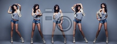 Plakat Kolaż Piękne kobiety moda pozowanie na tle