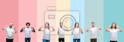 Plakat Kolaż różnych etnics młodych ludzi na sobie białą koszulkę na kolorowe pojedyncze tle uśmiecha się pewnie pokazano i wskazując palcami zębów i ust. Koncepcja zdrowia.