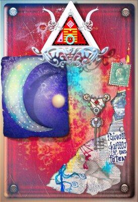 Plakat Kolaż tło z kolorowymi skrawkami, alchemicznych, gwiaździste i księżyca