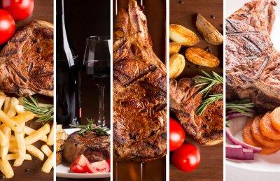 Plakat Kolaż ze zdjęć grillowanego mięsa