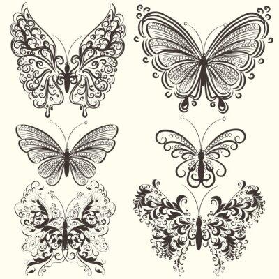 Plakat Kolekcja abstrakcyjna motyle wektor wirowa projektowania