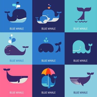 Plakat Kolekcja ikon wektorowych wielorybów