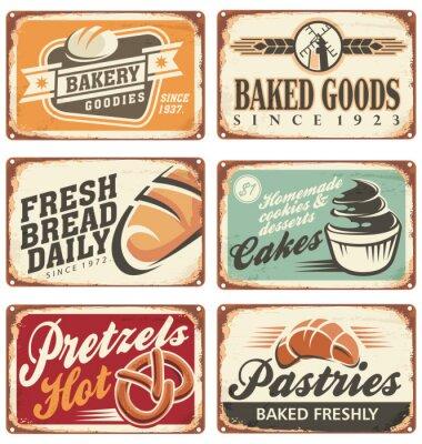 Plakat Kolekcja rocznika wektora piekarniczych znaków