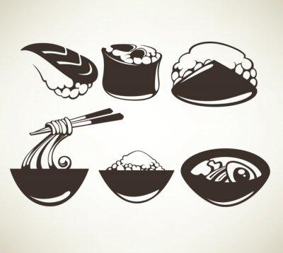 Plakat Kolekcja wektora japońskich symboli żywności