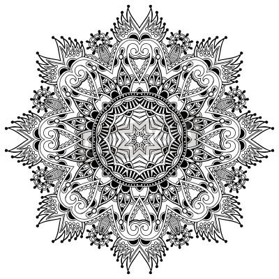 Plakat Koło koronki, ozdobne okrągłe serwetka wzór geometryczny, czarny i biały Kolekcja