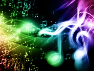 Plakat Kolor Muzyka w tle