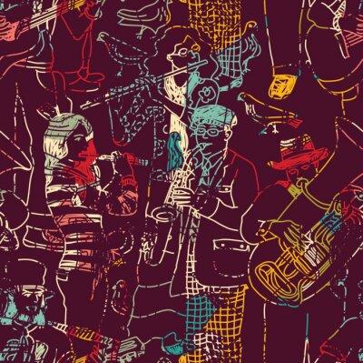 Plakat Kolor muzyki jazz band szwu.