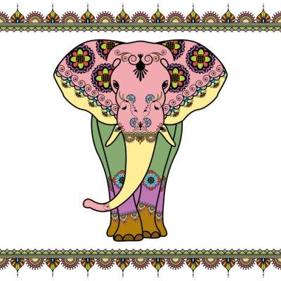 Plakat Kolor słonia z elementami granicznych w etnicznym stylu Mehndi. Wektor czarno-białych ilustracji na białym tle