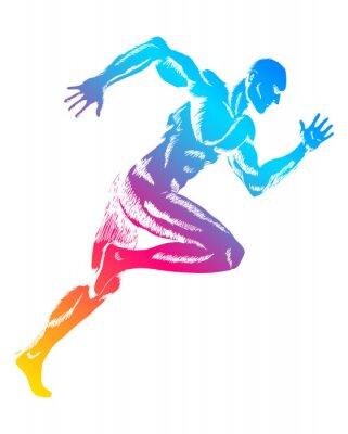 Plakat Kolorowa postać biegnącego człowieka