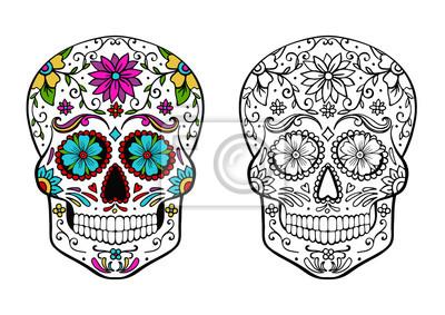 Plakat kolorowanka czaszki cukru i przykład kolorowania