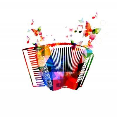 Plakat Kolorowe akordeon. Muzyka w tle z motyli instrumentu