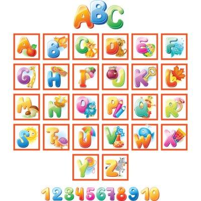 Plakat Kolorowe Alfabet dla dzieci z obrazkami