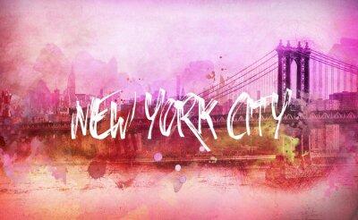 Plakat Kolorowe artystyczne różowy New York City panorama