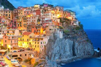 Plakat Kolorowe domy w nocy w Manarola, Cinque Terre we Włoszech.