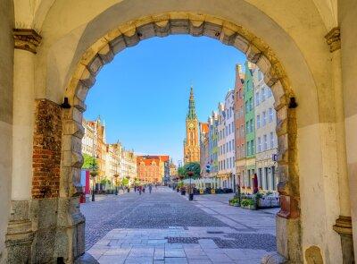 Plakat Kolorowe gotyckie fasady int stare miasto w Gdańsku
