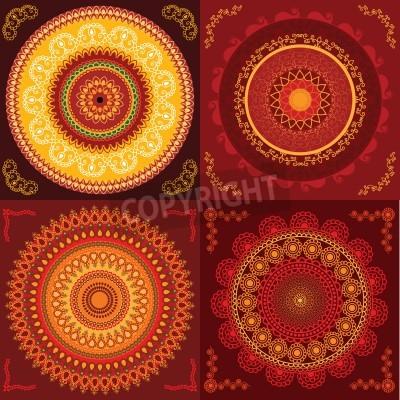 Plakat Kolorowe Henna Mandala design, bardzo skomplikowane i łatwo edytowalne