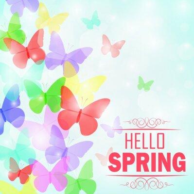 Plakat Kolorowe motyle tle z tekstem Witaj wiosnę