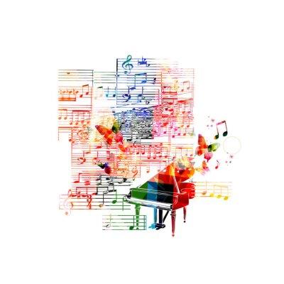Plakat Kolorowe projekt fortepian
