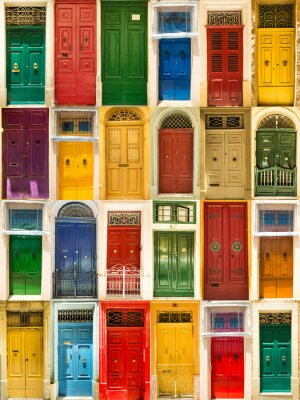 Plakat kolorowe przednie drzwi do domów