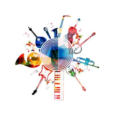 Plakat Kolorowe tło muzyczne instrumenty
