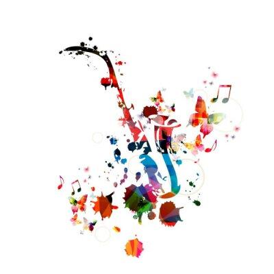 Plakat Kolorowe tło muzyczne z saksofon