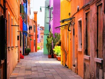 Plakat Kolorowe ulicy w Burano, niedaleko Wenecji, Włochy