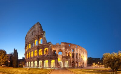 Plakat Koloseum w nocy .Rome - Włochy