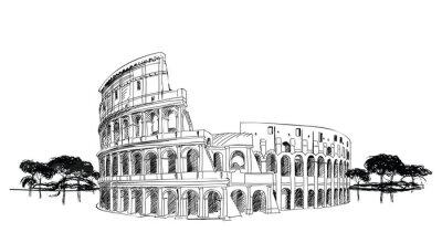 Plakat Koloseum w Rzymie, Włochy. Landmark Koloseum, krajobraz miasta.