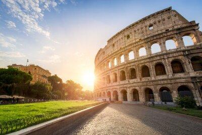 Plakat Koloseum w Rzymie, Włochy na zachodzie słońca