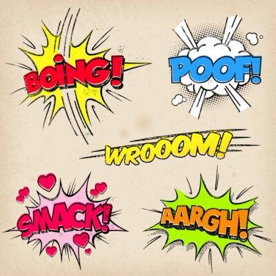 Plakat Komiczne efekty dźwiękowe z Grunged Style