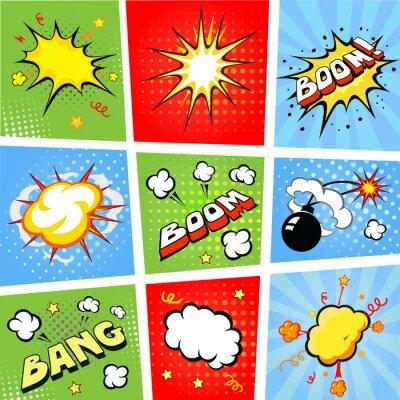 Plakat Komiks dymki i komiks tle ilustracji