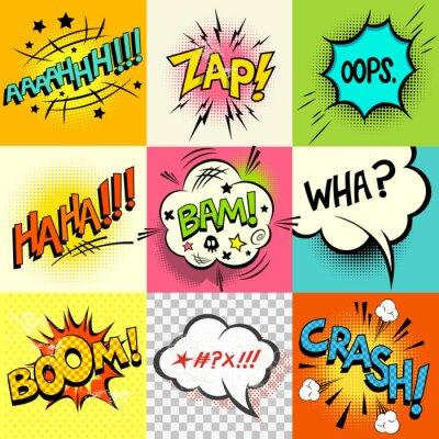 Plakat Komiks Wyrażenia! Zestaw komiksów pęcherzyków książka słowa i wypowiedzi słów. Ilustracji wektorowych