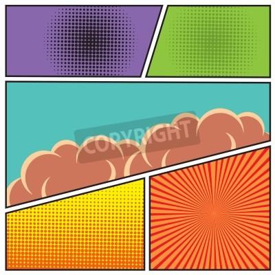 Plakat Komiksy pop w stylu art szablon puste układ z chmurami belek i kropek wzór ilustracji wektorowych w tle