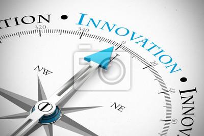 Plakat Kompas wskazujący na kierunku innowacji