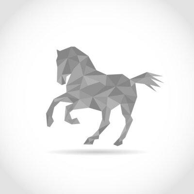 Plakat Koń w stylu wielokąta. low poly wzór w trójkątach