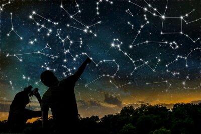 Plakat Koncepcja Astrologia. Konstelacje na nocnym niebie. Sylwetki astrologów obserwacji zodiaku konstelacji.
