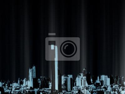 Koncepcja cyfrowego miasta binarnego. Wirtualne budynki stworzone ze świecącego zera i jednego tekstu ilustrującego postęp technologii w przyszłości. Dla technologii, finansów i biznesu